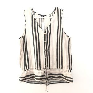 NEW ANTHRO Drew Small Striped Linen Blend Tank Top